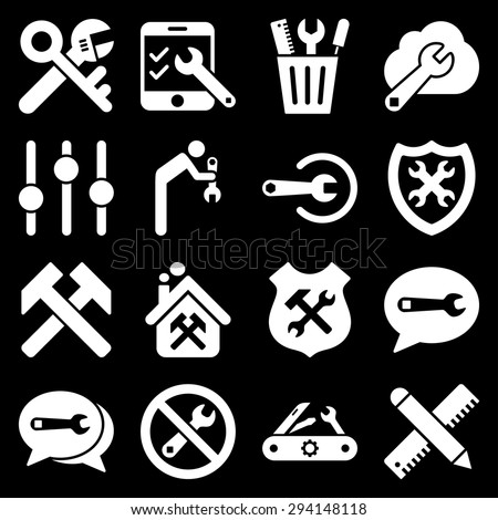 Options and service tools icon set. Vector style: flat symbols, white color, rounded angles, black background. - stock vector