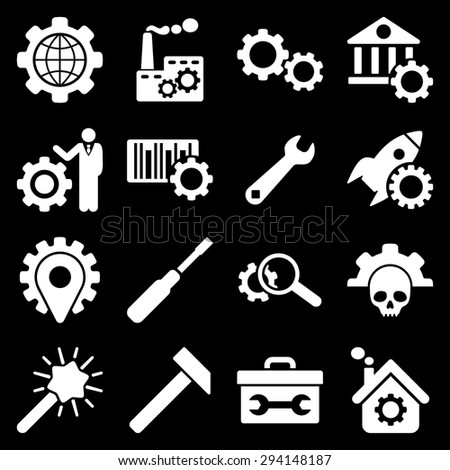Options and service tools icon set. Vector style: flat symbols, white color, rounded angles, black background.