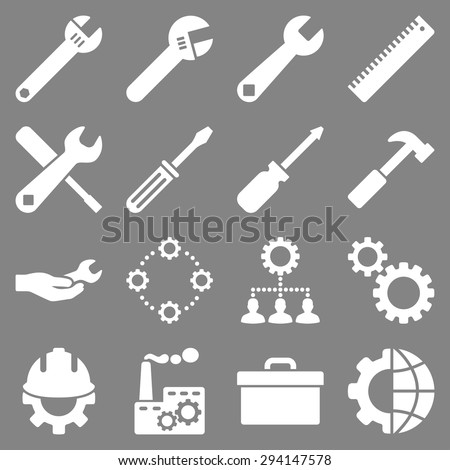 Options and service tools icon set. Vector style: flat symbols, white color, rounded angles, gray background. - stock vector