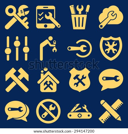 Options and service tools icon set. Vector style: flat symbols, yellow color, rounded angles, blue background. - stock vector
