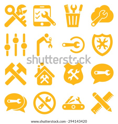 Options and service tools icon set. Vector style: flat symbols, yellow color, rounded angles, white background. - stock vector