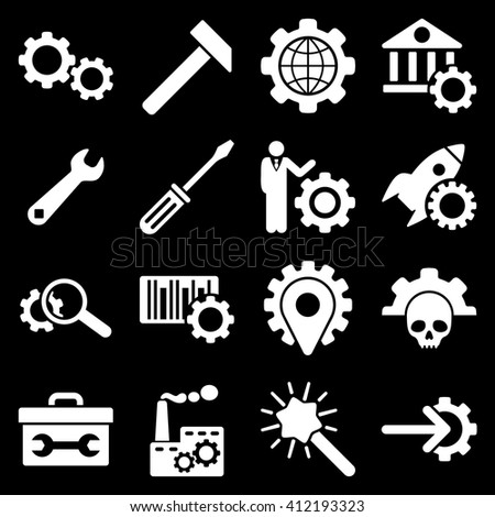 Options and service tools icon set. Vector style is flat symbols, white color, rounded angles, black background.