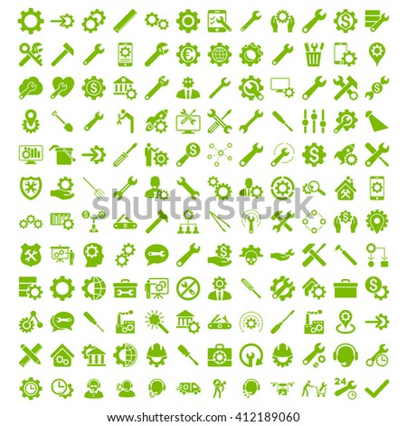 Options and service tools icon set with 144 icons. Vector style is flat symbols, eco green color, rounded angles, white background.