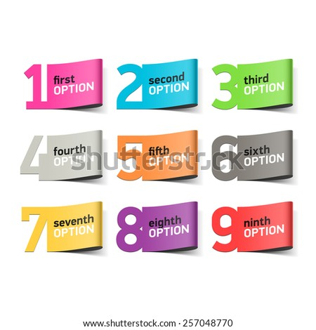 Options numbers, infographics element. Vector. - stock vector