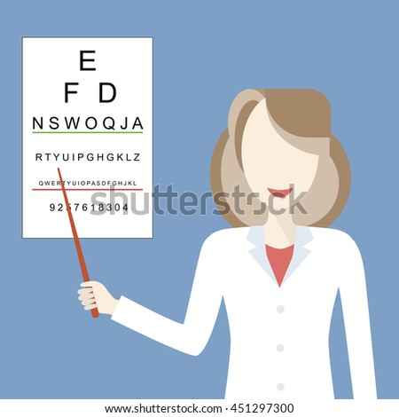 Optometrist examines a patient using a table for testing visual acuity. Doctor woman ophthalmologist smiling. Medicine and eye health concept. Vector illustration flat design - stock vector