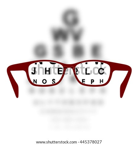 Optometry medical background glasses with blurred background