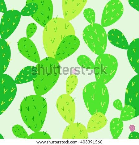 Opuntia cactus. Desert flora. Endless cactus. Vibrant colors. Vector seamless pattern, eps10. - stock vector