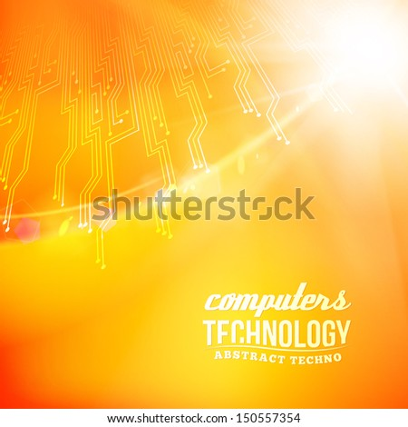 Orabge  abstract background with circles lines and shapes. Vector illustration, contains transparencies, gradients and effects. - stock vector