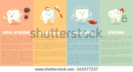 Oral hygiene booklet with cute tooth. Part 1. Brushing, flossing and rinsing. Vector illustration.