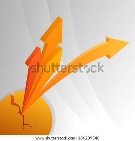 Orange abstract arrows from crack sphere. Vector illustration. - stock vector
