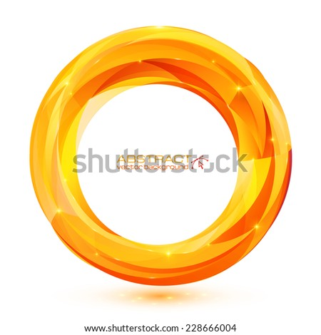 Orange abstract geometry vector ring - stock vector