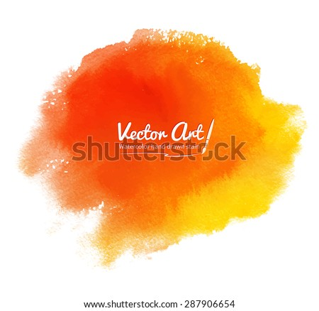 Orange abstract vector watercolor background. - stock vector