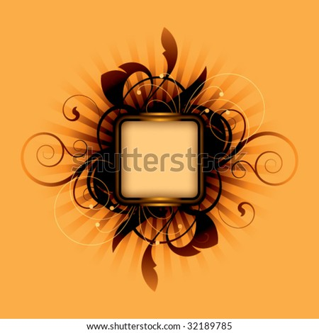 Orange abstract with decorative elements - stock vector