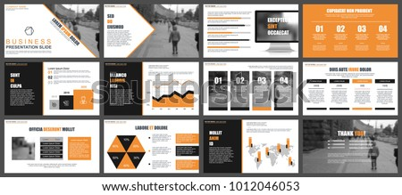 Orange black business presentation slides templates stock photo orange and black business presentation slides templates from infographic elements can be used for presentation accmission Choice Image
