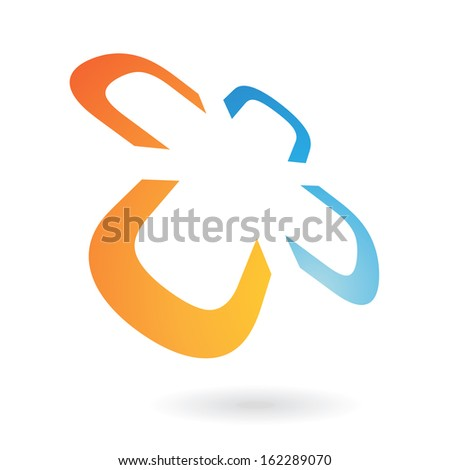 Orange and Blue Distorted Abstract Icon