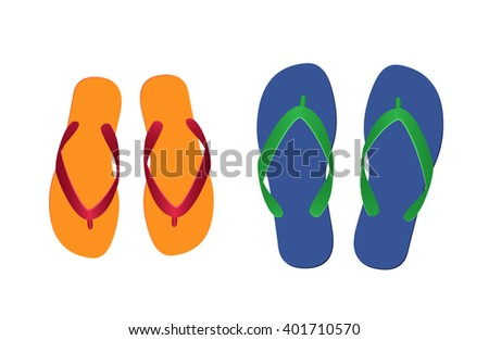 orange and blue flip flops isolated on white background. vector illustration