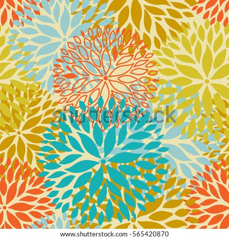 Orange And Blue Flower Seamless Pattern Chrysanthemum Flowers Background For Web Print Textile