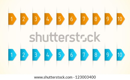 Orange and blue labels with numbers - stock vector