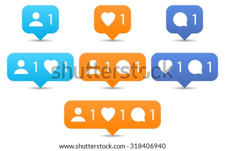 Orange and blue notification tooltip with heart, user, speech bubble, counter, shadow on white background. Like, follow, comment icons in flat style. Set 02. Vector illustration design element 8 eps - stock vector