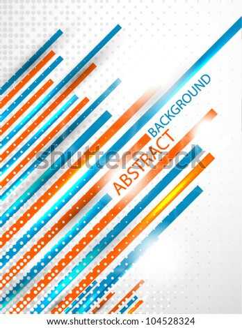 Orange and blue stripes vector abstract background