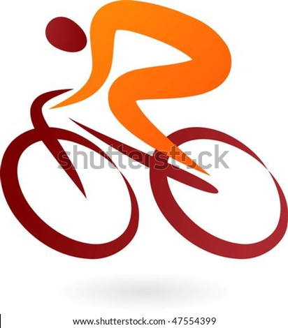 Orange and brown cyclist icon - elegant vector illustration - stock vector