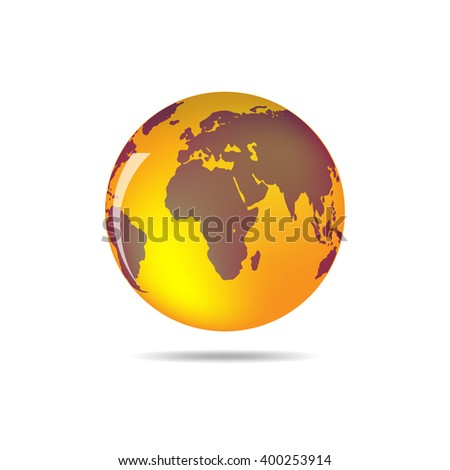 Orange and brown vector Earth globe isolated on white. Bright simple scheme of the globe. Globe earth Icon - vector illustration. - stock vector