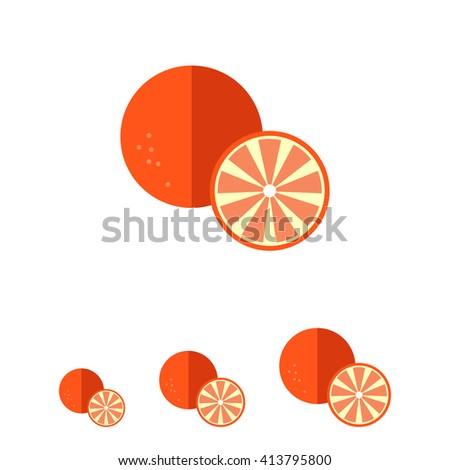 Orange and cut orange half - stock vector