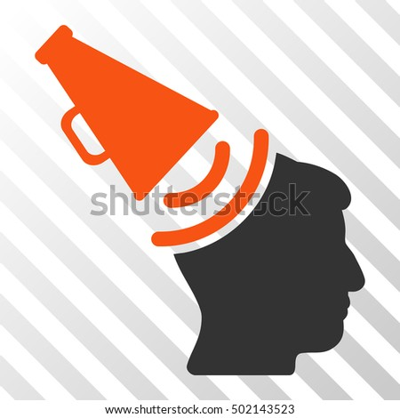 Orange And Gray Propaganda Megaphone interface pictogram. Vector pictograph style is a flat bicolor symbol on diagonal hatch transparent background.
