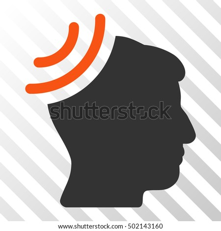 Orange And Gray Radio Reception Brain interface icon. Vector pictogram style is a flat bicolor symbol on diagonal hatch transparent background.