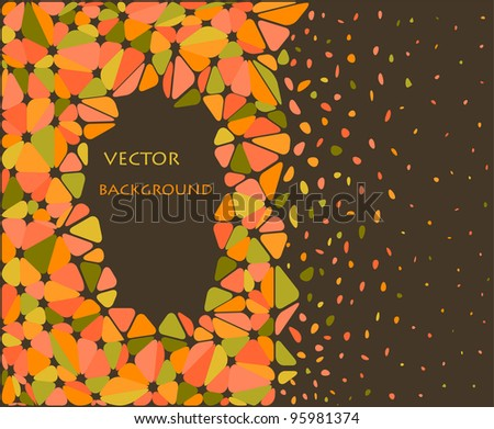 orange and green abstract triangle background - stock vector