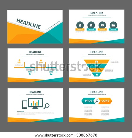 Orange and green multipurpose presentation infographic element and light bulb symbol icon template flat design set for advertising marketing brochure flyer - stock vector