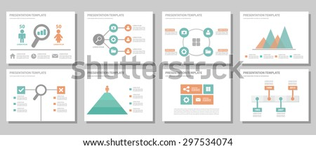 Orange and green multipurpose presentation template brochure flyer flat design set for marketing and advertising 2 - stock vector