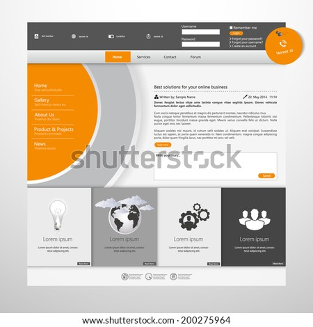 Orange and grey business Website template  - stock vector