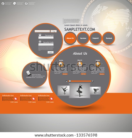 Orange and Grey Web site design template, vector - stock vector