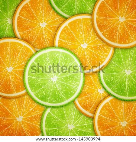 Orange and lime fruit slices background eps10 vector illustration - stock vector