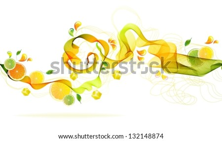 Orange and lime juice splash with abstract wave, Vector background illustration
