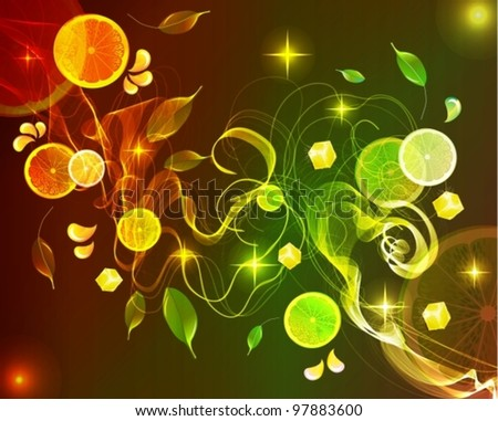 Orange and lime juice splash with abstract wave,vector background illustration - stock vector
