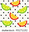 Orange and lime slices on polka dot background. Seamless pattern. - stock vector