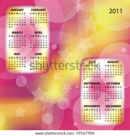 Orange and pink 2011 vector calendar with stars - stock vector