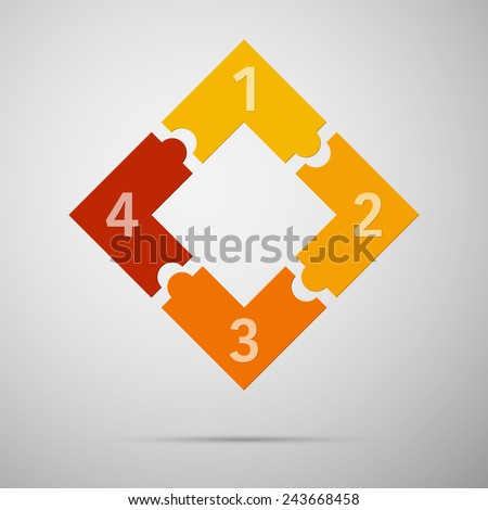 Orange and red colored puzzle infographic concept with numbers. Vector illustration. - stock vector