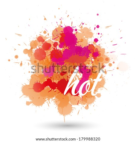 orange and red splatter element - stock vector