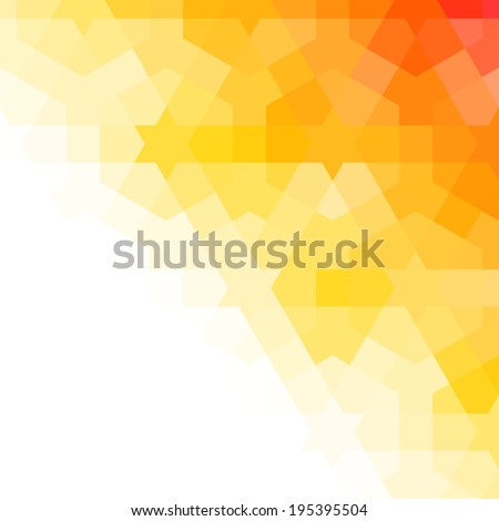 Orange and white background with arabic texture - stock vector