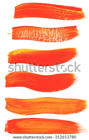 Orange and yellow Brush stroke. Acrylic paint stain. Stroke of the paint brush isolated on white background. Colorful template. EPS 8 - stock vector