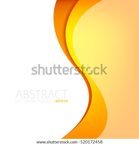 Orange and yellow curve line background. overlap paper yellow layer on white and yellow space for text and message design