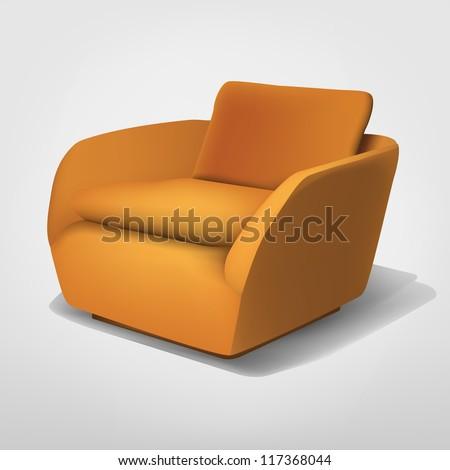 Orange armchair - stock vector