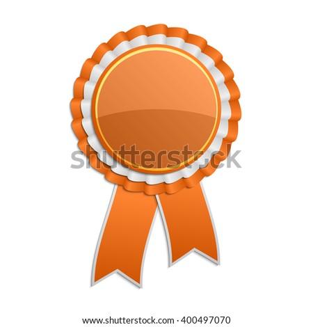 Orange award rosette with ribbon - stock vector