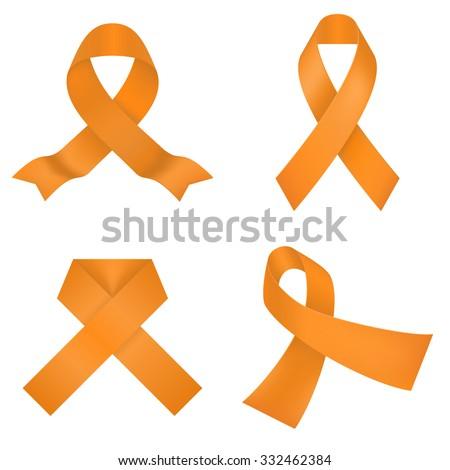 Orange awareness ribbons on a white background. Vector illustration - stock vector