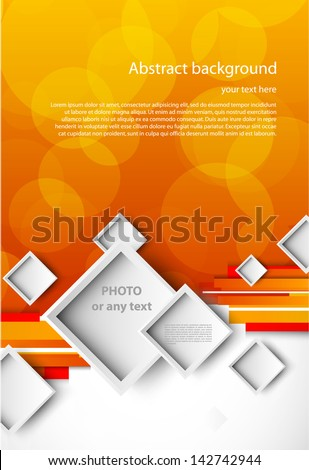 Orange background and white squares - stock vector