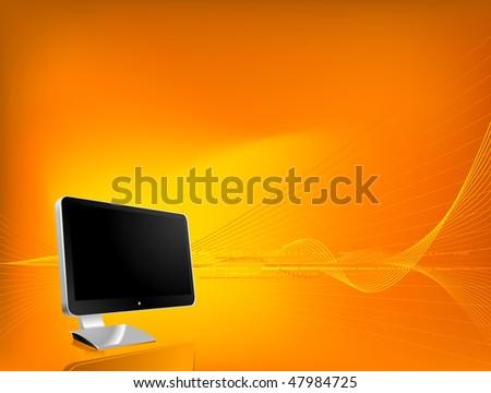 Orange background with stylish monitor - stock vector