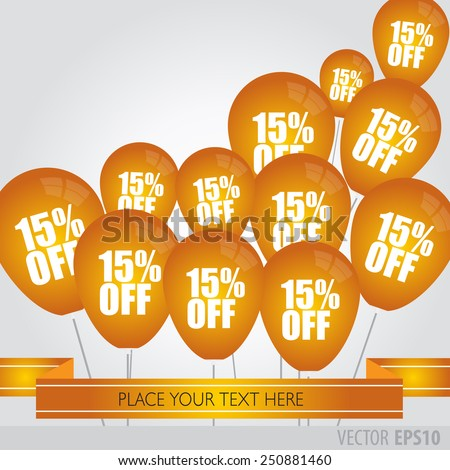 Orange balloons With Sale Discounts 15 percent.